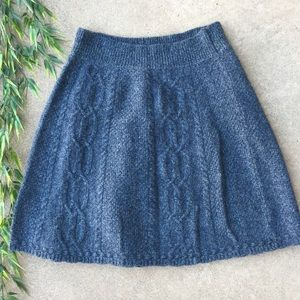 Anthropologie Moth Flowing Cables Knit Wool Skirt